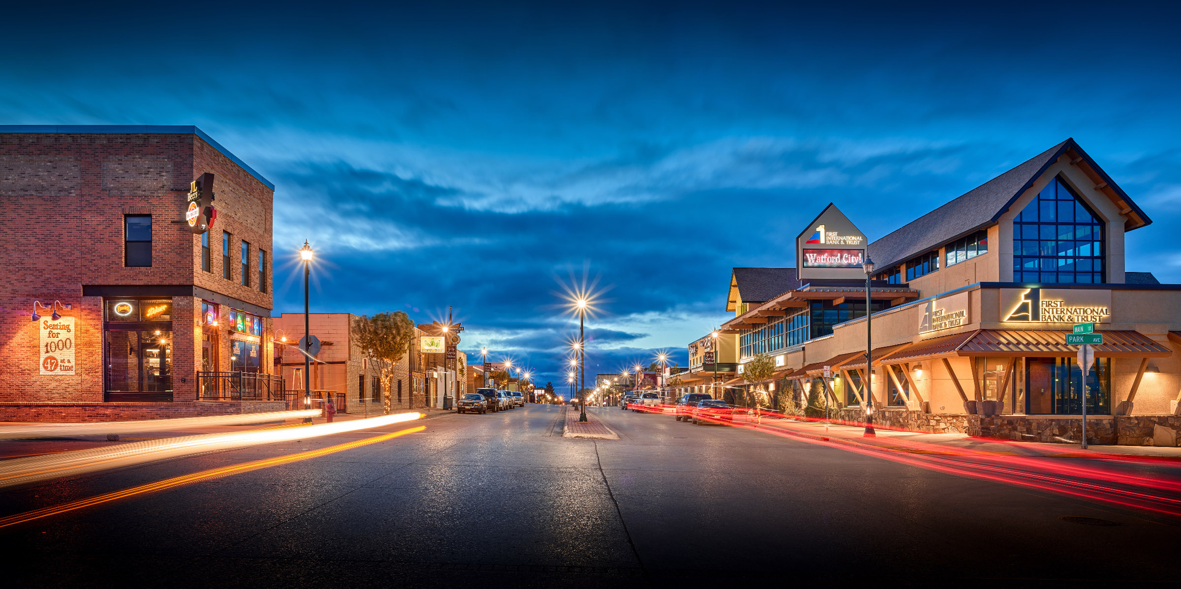 Watford City at Night